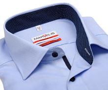 Marvelis Modern Fit - svetlomodrá košeľa s jemnou štruktúrou a vnútorným golierom - predĺžený rukáv