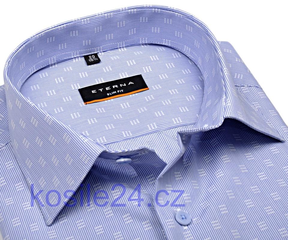 ada9c953e3cf Eterna Slim Fit – košeľa so svetlomodrým prúžkom a bielym vzorom – extra  predĺžený rukáv