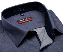 Marvelis Body Fit – kovově modrá košile s vnitřním límcem