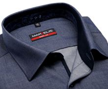 Marvelis Body Fit – kovovo modrá košeľa s vnútorným golierom