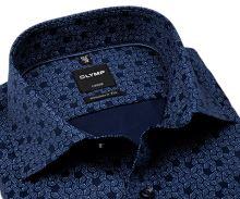 Olymp Luxor Modern Fit – modrá košeľa s tľačeným vzorom