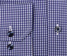 Eterna Comfort Fit Twill – košeľa s tmavomodrým károm a vnútornou légou - predĺžený rukáv