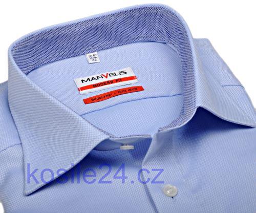 Marvelis Modern Fit – luxusná svetlomodrá košeľa so štruktúrou a vnútorným golierom a manžetou