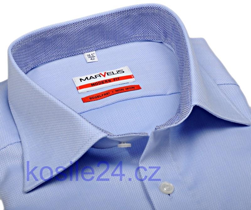 81bf63132791 Marvelis Modern Fit – luxusná svetlomodrá košeľa so štruktúrou a vnútorným  golierom a manžetou