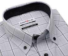Marvelis Comfort Fit - košeľa so sivým károm a čierno-bielym vnútorným golierom - krátky rukáv