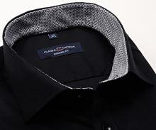 Casa Moda Modern Fit – čierna košeľa s čierno-sivým vnútorným golierom a manžetou