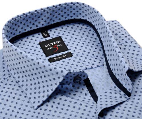 Olymp Level Five - svetlomodrá košeľa so svetlým rastrovaním a tmavomodrým vzorom