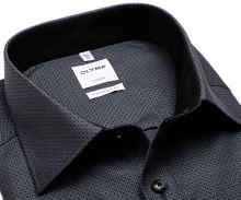 Olymp Comfort Fit – černo-bílá košile s vetkaným vzorem - prodloužený rukáv
