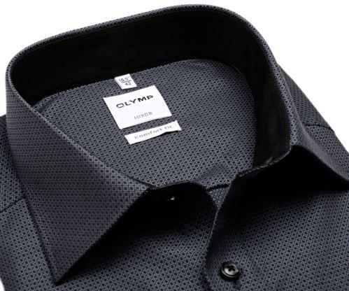 Olymp Comfort Fit – černo-bílá košile s vetkaným vzorem