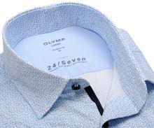Olymp Modern Fit 24/Seven – luxusná elastická košeľa so svetlomodrým vzorom - krátky rukáv