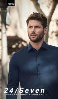 Olymp Level Five 24/Seven – modrá elastická košile se světle modrým rastrováním