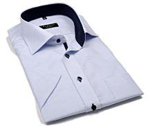 a10f4c0dc11f Eterna Modern Fit – košeľa s modrým votkaným vzorom a vnútorným golierom - krátky  rukáv