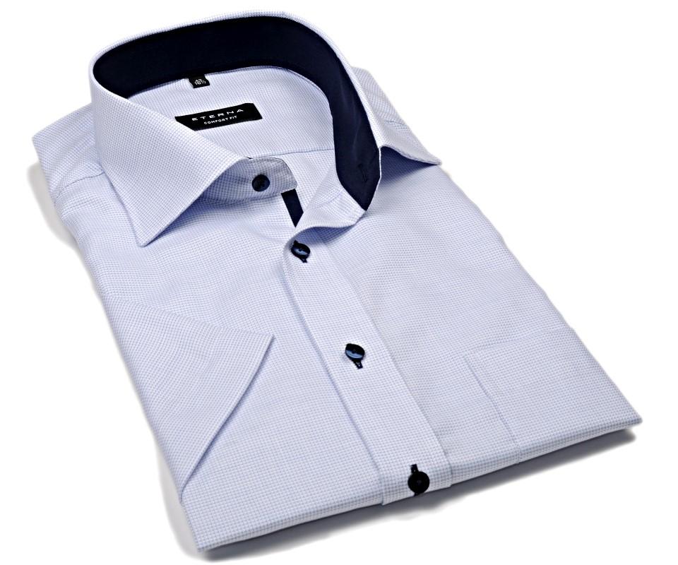 e18b0eae30f9 Eterna Comfort Fit – košeľa s modrým votkaným vzorom a vnútorným golierom -  krátky rukáv