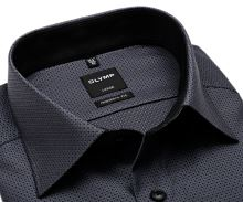 Olymp Modern Fit – černo-bílá košile s vetkaným vzorem