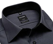 Olymp Modern Fit – čierno-biela košeľa s votkaným vzorom - predĺžený rukáv