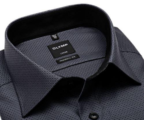 Olymp Modern Fit – černo-bílá košile s vetkaným vzorem - prodloužený rukáv