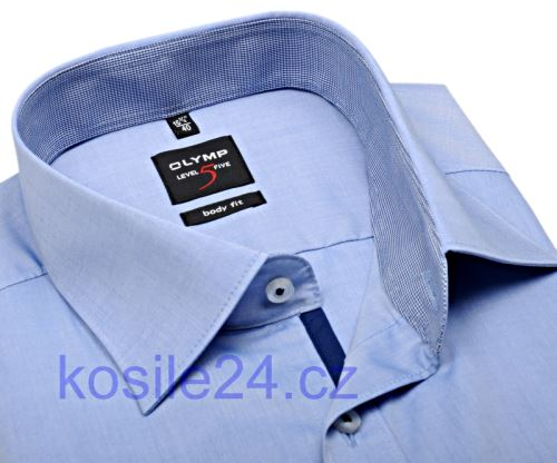 Olymp Level Five Chambray – svetlomodrá košeľa s vnútorným golierom a légou - krátky rukáv
