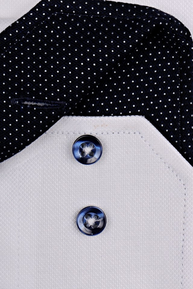 Venti Slim Fit – bílá košile se strukturou a tmavomodrým vnitřním límcem - extra  prodloužený rukáv cc6a85ce50