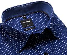 Olymp Luxor Modern Fit – tmavomodrá košeľa so štruktúrou a modro-bielym vzorom - predĺžený rukáv