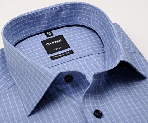 Olymp Modern Fit – modrá košile s bílou kostkou