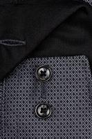 Olymp Comfort Fit – čierno-biela košeľa s votkaným vzorom - predĺžený rukáv