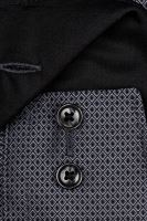 Olymp Comfort Fit – čierno-biela košeľa s votkaným vzorom
