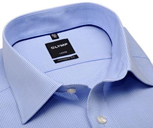 Olymp Luxor Modern Fit – košeľa se svetlomodrým minikárom s vnútorným golierom - krátky rukáv