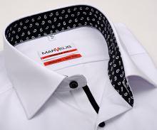 Marvelis Modern Fit – bílá košile s černo-bílým vnitřním límcem - prodloužený rukáv