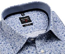 Olymp Level Five – luxusní bílá košile s tmavomodrým vzorem, vnitřním límcem a manžetou