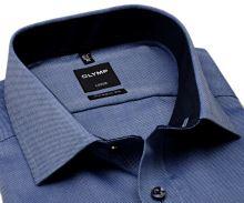 Olymp Modern Fit Natté – tmavě modrá košile s jemnou strukturou a vnitřním límcem - krátký rukáv