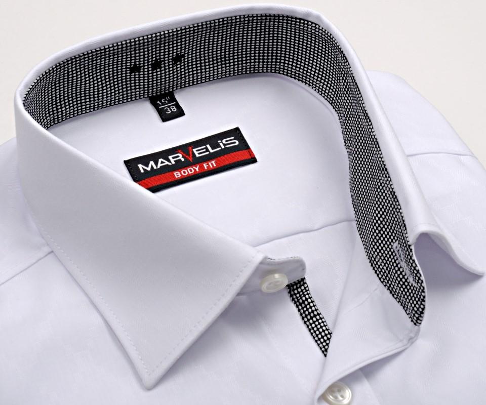 Marvelis Body Fit – bílá košile s vetkaným vzorem a vnitřním límcem -  prodloužený rukáv 56fe0884f0