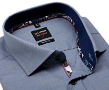Olymp Level Five - modrá košile s tmavomodrým vnitřním límcem - prodloužený rukáv