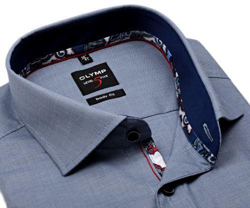 Olymp Level Five - modrá košile s tmavomodrým vnitřním límcem a manžetou