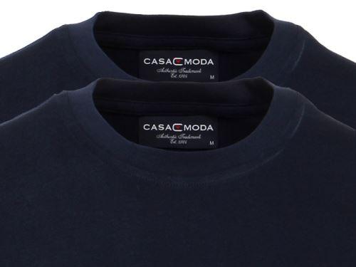 Tmavě modré tričko Casa Moda – kulatý výstřih - výhodné balení 2 ks