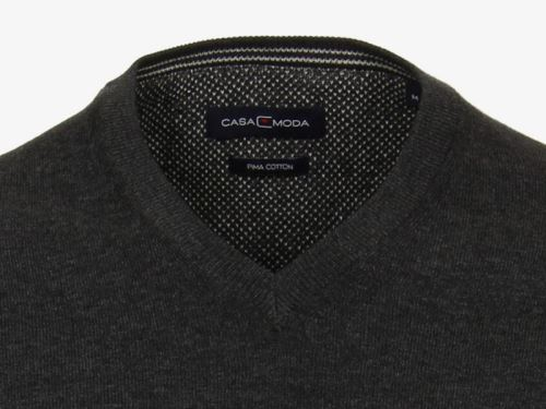 Bavlněný svetr Casa Moda – antracitový - extra prodloužený rukáv