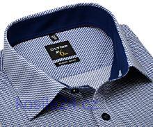 Olymp Super Slim – košeľa s modrým kaskádovitým vzorom a vnútorným golierom a manžetou