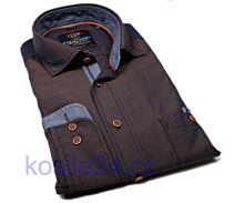 Casa Moda Casual Fit – hnedá košeľa s béžovým vzorom a vnútorným golierom - extra predĺžený rukáv