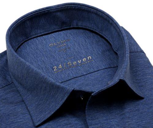 Olymp Super Slim 24/Seven – modrá elastická košile se světle modrým rastrováním