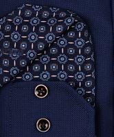 Venti Modern Fit – tmavomodrá košile se strukturou a tmavomodrým vnitřním límcem a manžetou