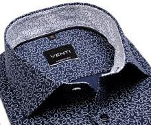 Venti Modern Fit – tmavomodrá košile s bílým vzorem a inverzním vnitřním límcem - extra prodloužený rukáv