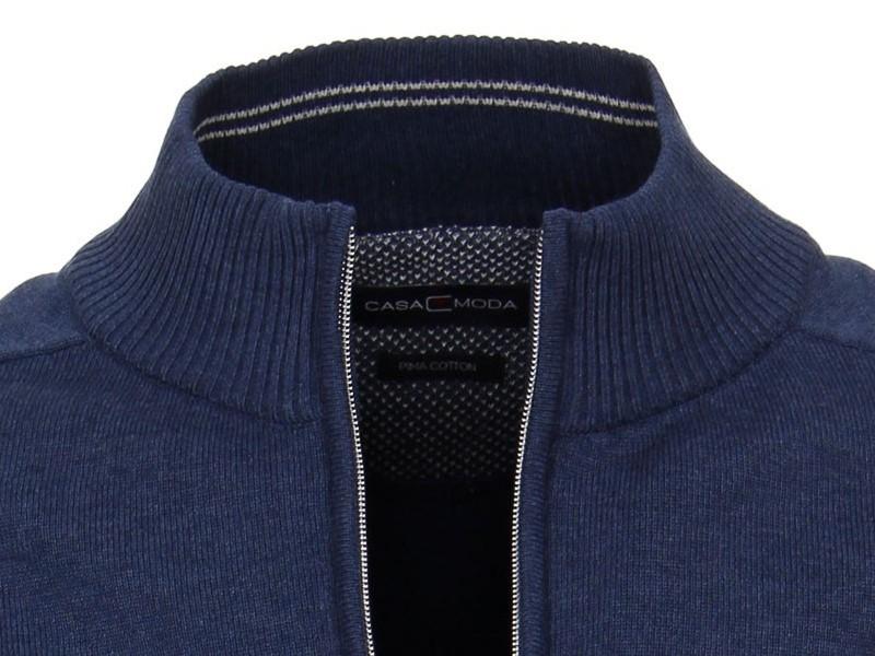 Kvalitní rozepínací svetr ze 100% PIMA bavlny Casa Moda – modrý 754a6d9219