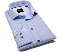 Venti Slim Fit – svetlomodrá košeľa s dvojitm károm a vnúrotným golierom -  extra predĺžený rukáv b2f23e68db