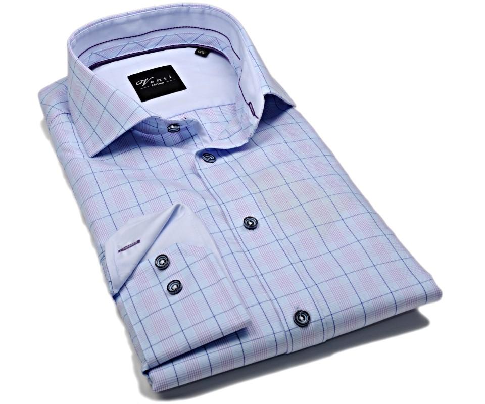 Venti Slim Fit – svetlomodrá košeľa s dvojitm károm a vnúrotným golierom -  extra predĺžený rukáv 1eb19d0172
