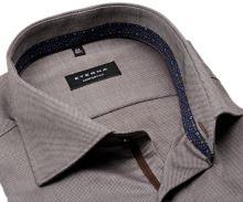 Eterna Comfort Fit - hnedá košeľa s jemnou štruktúrou, vnútorným golierom a manžetou