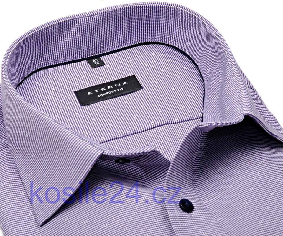 Eterna Comfort Fit – fialová košile s vetkaným vzorem - prodloužený rukáv c0f99ce13f