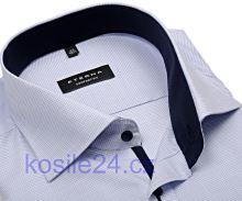 Eterna Comfort Fit – košeľa s modrým votkaným vzorom a vnútorným golierom - krátky rukáv