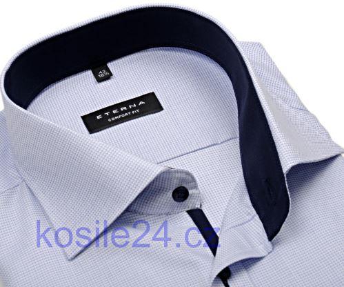 Eterna Comfort Fit – košeľa s modrým votkaným vzorom a vnútorným golierom, manžetou a légou