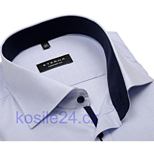 Košeľa Eterna s modrým votkaným vzorom - krátky rukáv 7237fdbb99