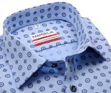 Marvelis Modern Fit – svetlomodrá košeľa s jemnou štruktúrou a tmovomodrým vzorom