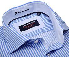 Casa Moda Comfort Fit Premium – luxusná modrá košeľa s votkaným prúžkom a vnútorným golierom - extra predĺžený rukáv